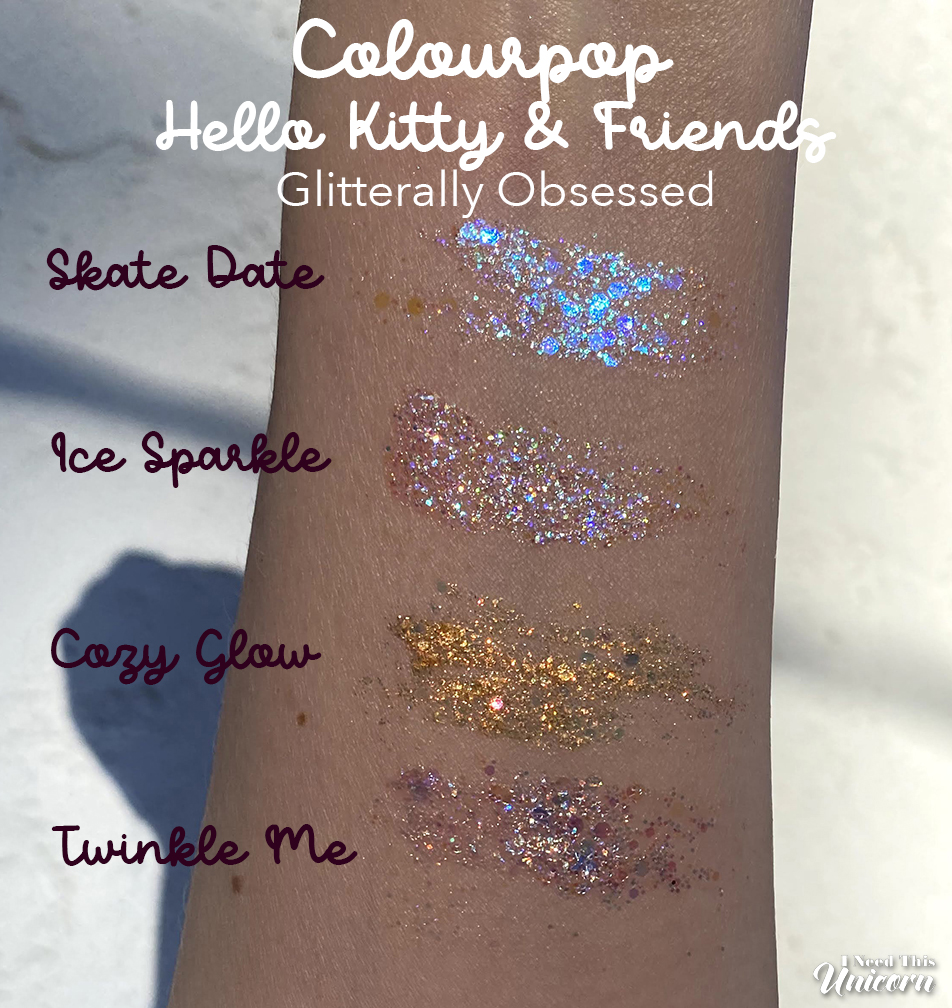Glitterally Obsessed glitter gel arm swatches outdoors